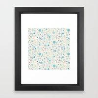 Blue Floral Pattern Framed Art Print