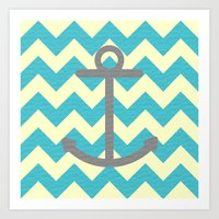 Chevron Anchor Art Print