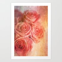 Romantic Roses Textured … Art Print