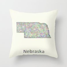 Nebraska Map Throw Pillow