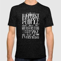 THE HAPPIEST PEOPLE... (… Mens Fitted Tee Tri-Black SMALL