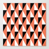 Salmon & black triangle mid-century pattern Canvas Print