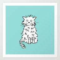 White Cat Blue Art Print