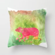 Baer  With Flowers I Throw Pillow