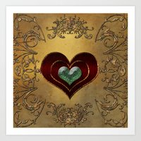 hearts Art Prints featuring Hearts by nicky2342