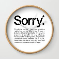 Sorry.* For a limited time only. (White) Wall Clock