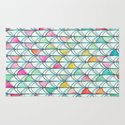Pencil & Paint Fish Scale Cutout Pattern - white, teal, yellow & pink Rug