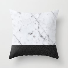 Marble and Leather Throw Pillow