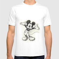 Mickey Mouse Mens Fitted Tee White SMALL