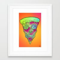 Skull Slice Neon Framed Art Print