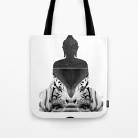 White Tiger Buddha Tote Bag