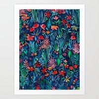 Tropical Ink - a watercolor garden Art Print