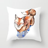 Smiling Red Fox in Blue Socks Throw Pillow