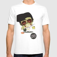 Elvis Zombie White Mens Fitted Tee SMALL