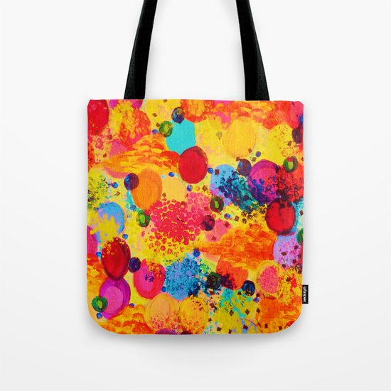 TIME FOR BUBBLY 2 - Fun Fiery Orange Red Whimsical Bubbles Bright Colorful Abstract Acrylic Painting Tote Bag