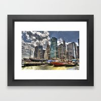 NYC Harbor, south seaport Framed Art Print