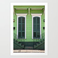 Green Creole Cottage Art Print