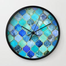 Cobalt Blue, Aqua & Gold… Wall Clock