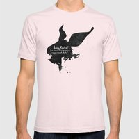 I'm late! – White Rabbit Silhouette Quote Mens Fitted Tee Light Pink SMALL