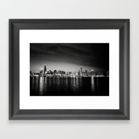 Chicago Skyline At Night Framed Art Print