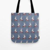 Bunny Riding Bike Tote Bag