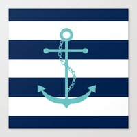 Aqua Anchor Shape On Wid… Canvas Print