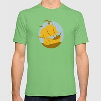 sailing ship galleon retro Mens Fitted Tee Grass SMALL