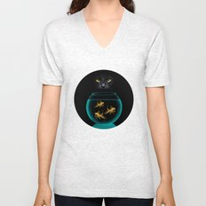 Black Cat Goldfish Unisex V-Neck