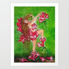 Fairy of the Red Penstemon Flower Art Print