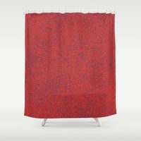 Abstract #002 Cells (Red) Shower Curtain