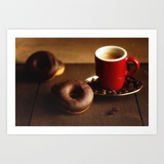Fresh Donuts For Coffee Art Print