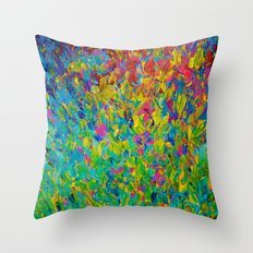RAINBOW FIELDS - Colorful Abstract Acrylic Painting Ocean Waves Blue Teal Magenta Nature Fine Art Throw Pillow