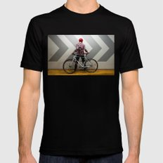 girl with bicycle Mens Fitted Tee Black SMALL