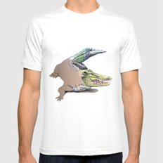 Crocodile SMALL White Mens Fitted Tee