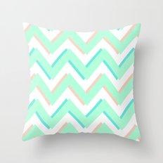 3D CHEVRON MINT/PEACH/TEAL Throw Pillow