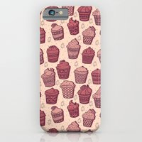 iPhone Cases featuring Pink Cupcake Pattern by Stacey Muir