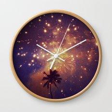 Palm tree fireworks Wall Clock