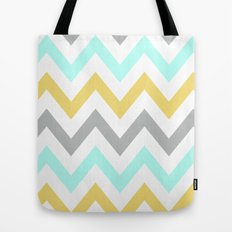 BLUE/GRAY/YELLOW CHEVRON Tote Bag