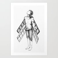 boy draws wings mk-II Art Print