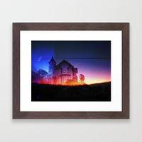 victorian house sunrise Framed Art Print
