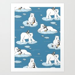 Art Print - Polar Bear Loves Penguin - micklyn