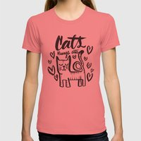 ALWAYS CATS Womens Fitted Tee Pomegranate SMALL
