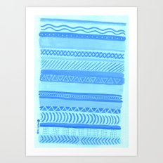 Tribal#1 (Blue) Art Print