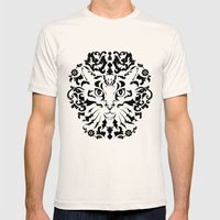 Cat Damask (Black&White) Mens Fitted Tee Natural SMALL
