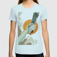 SERVITUDE Womens Fitted Tee Light Blue SMALL