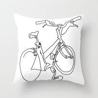 Blind Contour Bicycle Throw Pillow