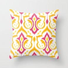 Ikat Damask - Berry Brights Throw Pillow