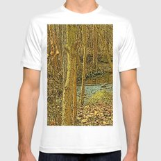 Gold Woodlands White Mens Fitted Tee SMALL