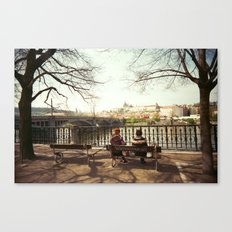 Two Women Sitting on a Bench in Prague Canvas Print