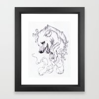 Hyena and Blossoms Framed Art Print